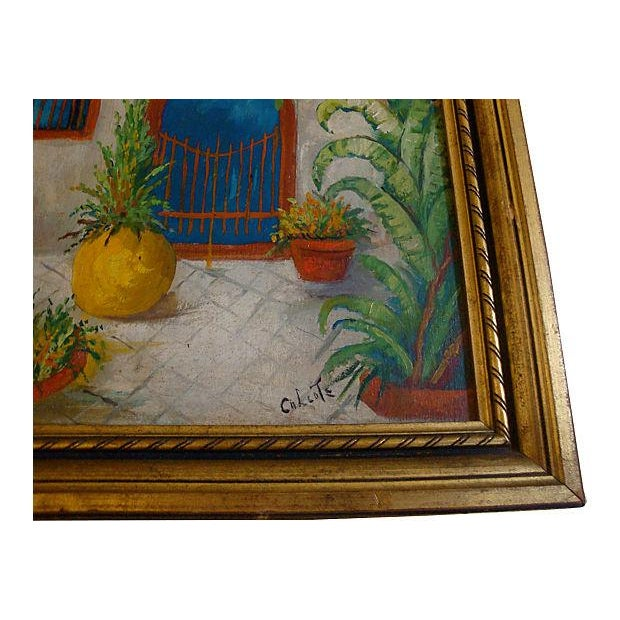 Southwest Courtyard Garden Door Oil Painting, 1920s - Image 2 of 5