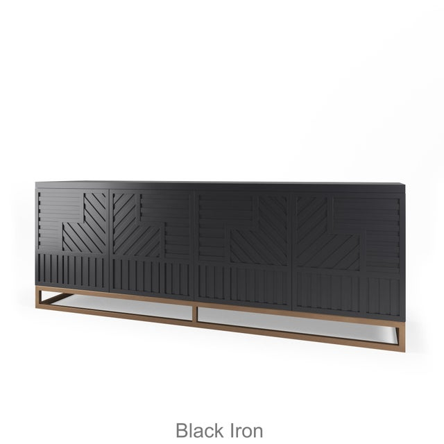 Not Yet Made - Made To Order Stria Credenza - Brushed Brass Base, Black Iron For Sale - Image 5 of 5