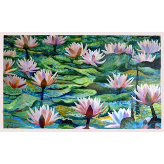 """Large Lotus Garden"" Painting by Geoff Greene For Sale"