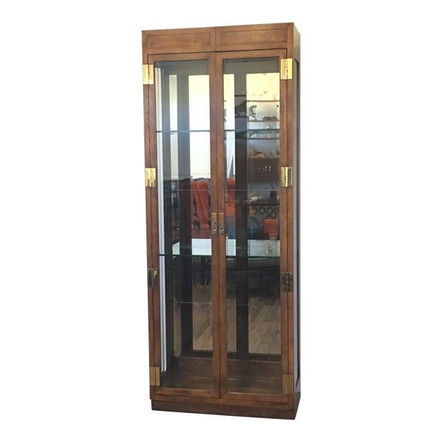 Henredon Campaign Style Lighted Display Cabinet - Image 1 of 6