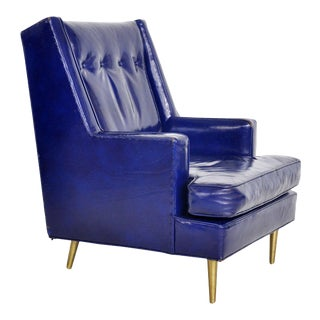 Dunbar Leather Lounge Chair on Brass Legs by Edward Wormley For Sale