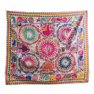 1960s Vintage Indian Handmade Wedding Tapestry For Sale