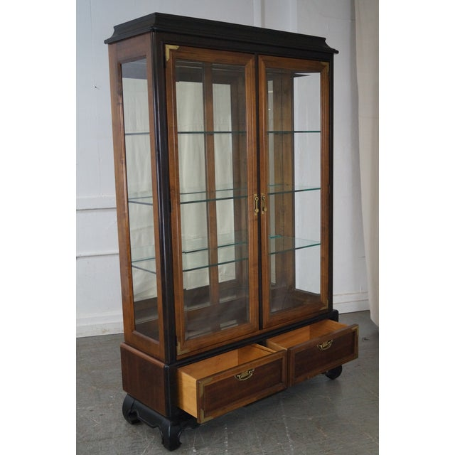 Broyhill Premier Asian Style Lighted Curio Display Cabinet