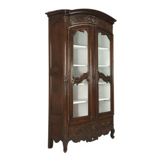 Antique French Walnut Armoire or China Cabinet, Circa Early 1800s