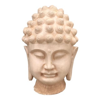 Large Ivory Majolica Buddha Head For Sale