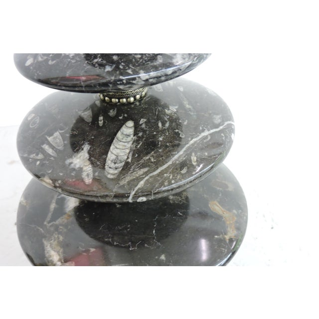 Art Deco Candle Stick With Embedded Orthoceratite Fossils For Sale - Image 3 of 6