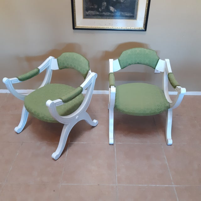 Drexel Hollywood Regency Style White Painted Drexel Chairs- a Pair For Sale - Image 10 of 10