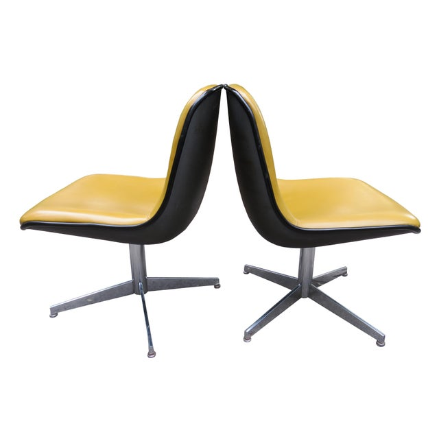Yellow Vintage Steelcase Swivel Chairs - A Pair For Sale - Image 8 of 13