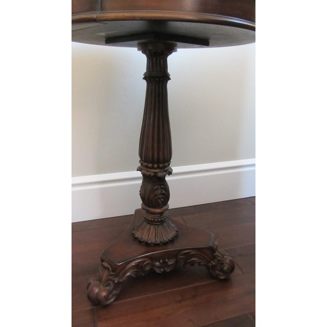 Pedestal End Table With Brass Map Inlay - Image 5 of 9