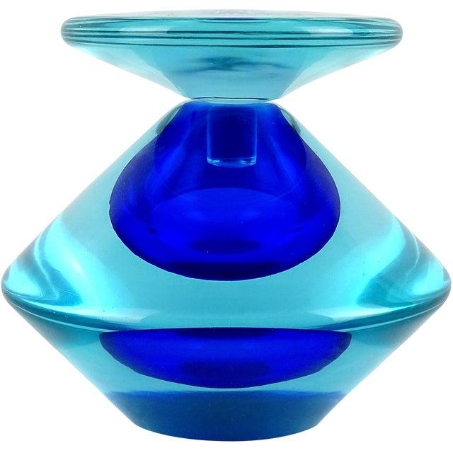 Vintage Seguso Vetri d'Arte Murano Sommerso Cobalt Blue Italian Art Glass Perfume Bottle For Sale