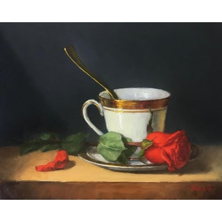 Good Morning Teacup and Rose Still Life Original Oil Painting For Sale