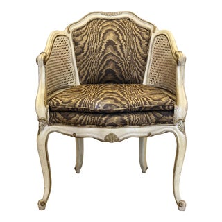 Vintage Mid Century French Louis XVI Cane Bergere Accent Chair For Sale