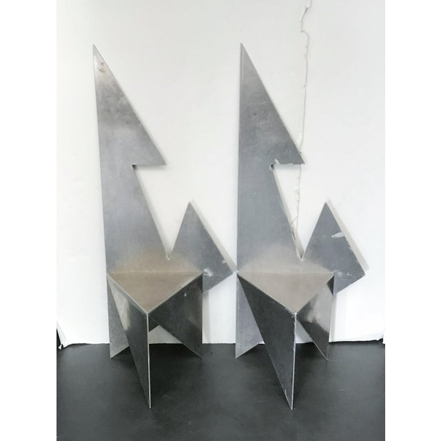 Vintage pair of silver metal geometric chairs / Made in USA, circa 1970s Measures: height 60 inches, width 24 inches,...