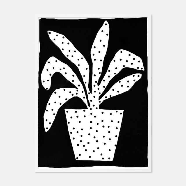 Contemporary Polkadot Plant by Kate Roebuck in White Framed Paper, Small Art Print For Sale - Image 3 of 3