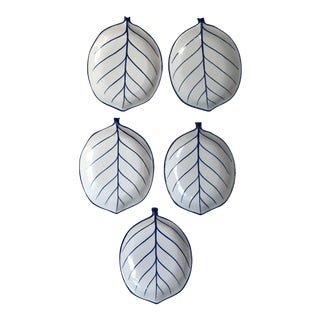 Blue and White Ceramic Leaf Dishes - Set of 5 For Sale