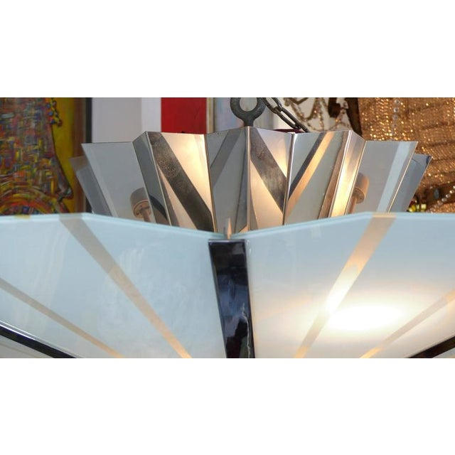 Monumental Circa 1960 Stainless Steel and Etched Glass Chandelier - Image 8 of 8