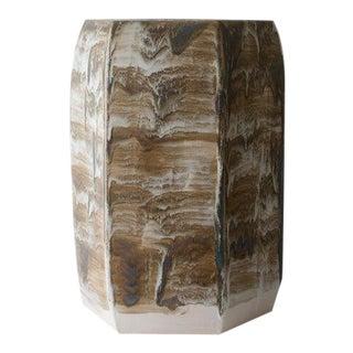 Paul Schneider Ceramic Hexagonal Stool in Drip Brushed #6188 Glaze For Sale