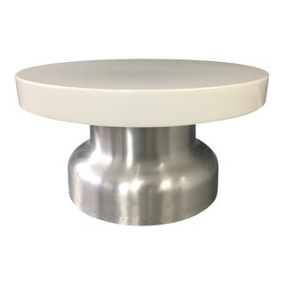 Post Modern Industrial Lighted Coffee Table in Brushed Aluminum and Acrylic For Sale