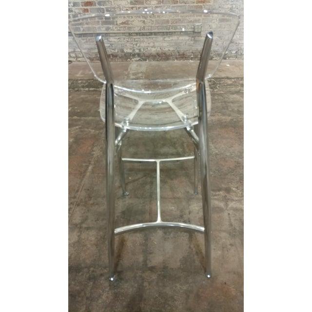 Transparent Designer Lucite & Polished Steel Bar Stools - Set of 3 For Sale - Image 8 of 10