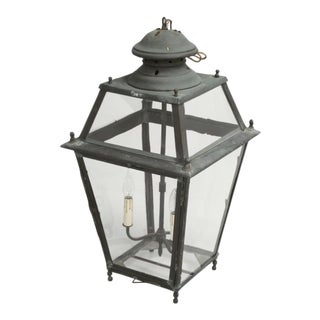 Antique French Copper Lantern With Wavy Glass For Sale