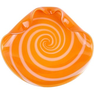 Alfredo Barbini Murano Orange White Gold Italian Art Glass Centerpiece Bowl For Sale
