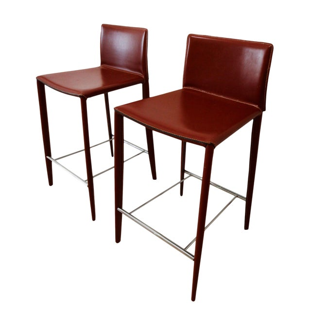 Italian Red Leather Barstools- a Pair - Image 1 of 7