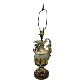 1920s Mythological Theme Sculptural Hand Painted and Gilt Capodimonte Lamp For Sale