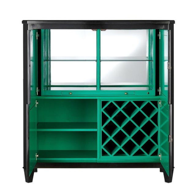 Stylish modern Currey & Co. Sinclair Bar Cabinet, black wood frame with glass faux malachite door fronts, stunning green...