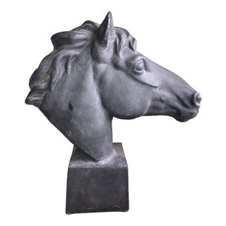 Large Mid-Century Cast Iron Horse/Equestrian Bust For Sale