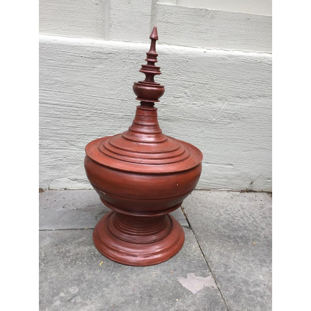 Orange Asian Sculptural Burmese Terra Cotta Colored Wood Offering Urn For Sale - Image 8 of 8