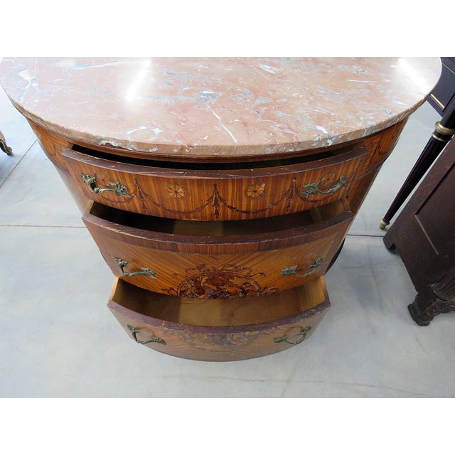Brown 20th Century EnglishTtraditional Adams Style Marble Top Demilune For Sale - Image 8 of 9