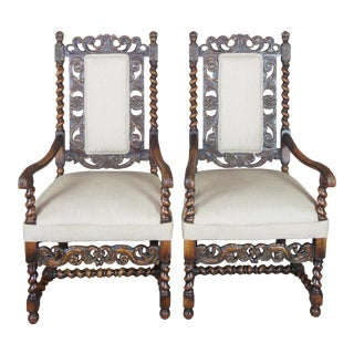 Antique French Renaissance Revival Carved Oak Hunt Arm Chairs - a Pair For Sale