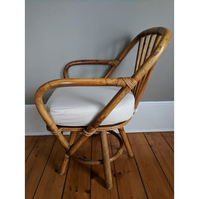 Americana Swivel Bamboo Armchairs - Set of 4 For Sale - Image 3 of 13