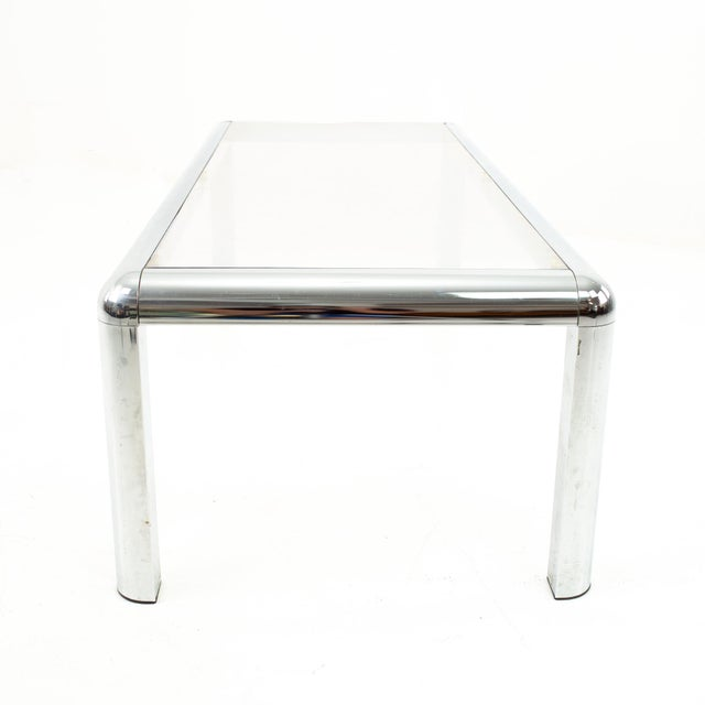 Silver Mid Century Chrome and Glass Coffee Table For Sale - Image 8 of 9