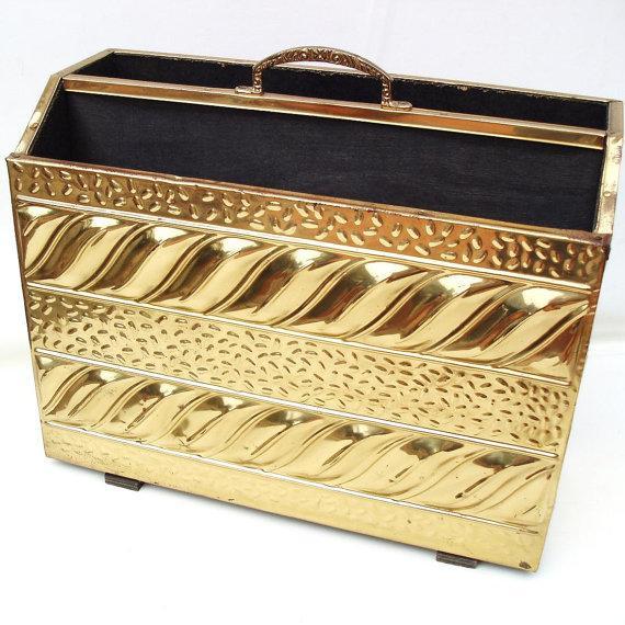 Mid Century Magazine Rack Hammered Brass Storage - Image 2 of 6