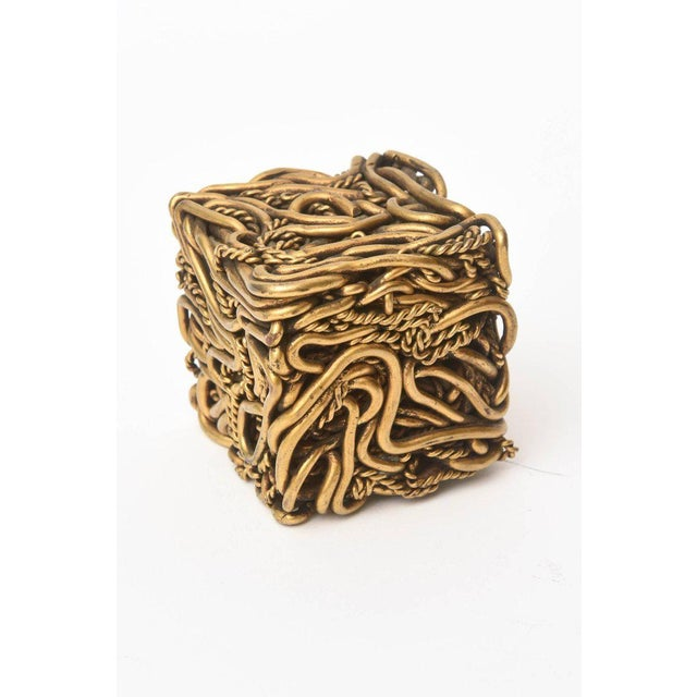 Pair of Signed Yasca Bronze Twisted Square Cube Sculptures For Sale In Miami - Image 6 of 11