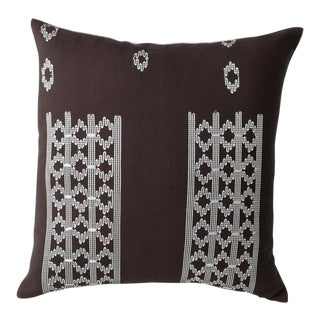 Handwoven Edo Pillow in Chocolate Brown With White For Sale
