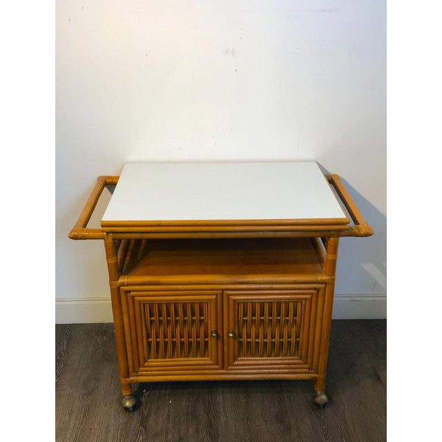Mid-Century Modern Midcentury Rattan Expandable Bar Cart For Sale - Image 3 of 13
