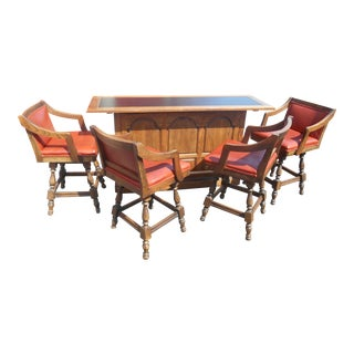 20th Century Traditional Solid Oak Home Bar Set - 5 Pieces For Sale