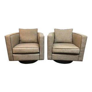 Custom Pair of Stanley Anthony Swivel Chairs For Sale