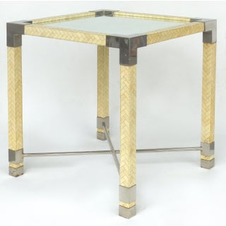 Karl Springer Style Tessellate Bone & Chrome Game Table Preview