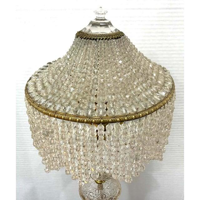 Bronze Austrian Art Deco Crystal & Bronze Boudoir Lamp, With Sphinx Feet For Sale - Image 8 of 10