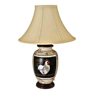 Hand Painted Ceramic Urn Rooster Table Lamp For Sale