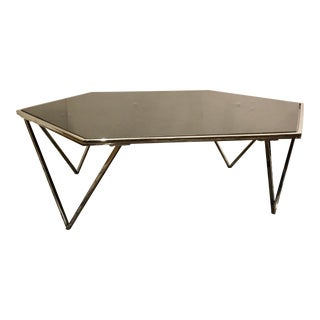 Modern Black Marble and Polished Nickel Geometric Cocktail Table For Sale