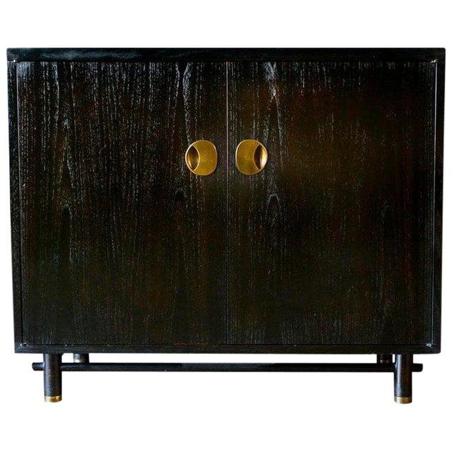 1970s Hollywood Regency Baker Ebonized Cabinet For Sale