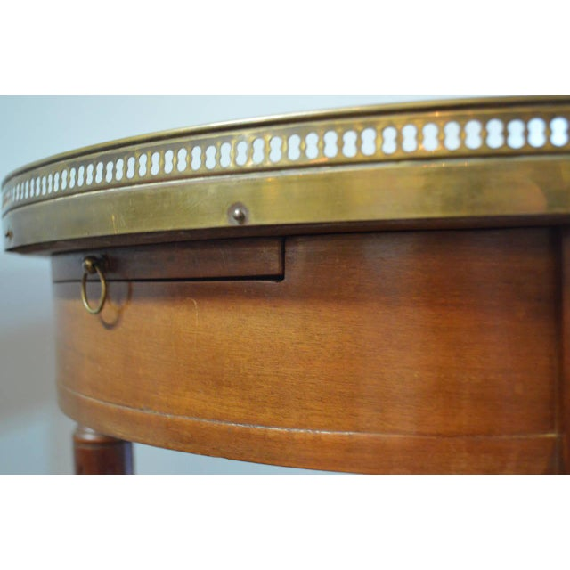 Louis XVI Style Mahogany Bouillotte Table With Original Marble Top For Sale - Image 4 of 9