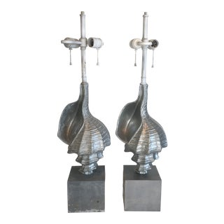 Mid Century Modern Cast Aluminum Conch Shell Lamps - a Pair For Sale