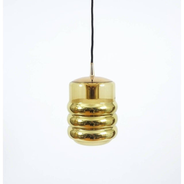 Three Staff Golden Glass Pendant Lamps with Black Cord Wire, 1970 For Sale - Image 6 of 6