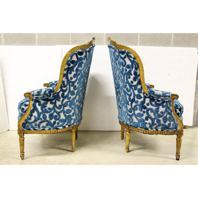 Antique French Giltwood Bergere Chairs, Pair For Sale - Image 4 of 10