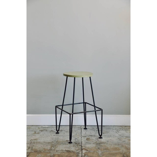 Metal Set of Four Industrial Counter-Height Bar Stools For Sale - Image 7 of 8